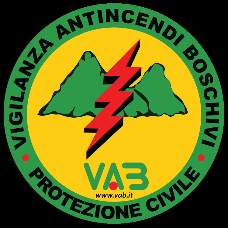 Logo con montagne verdi e fulmine rosso Protezione Civile