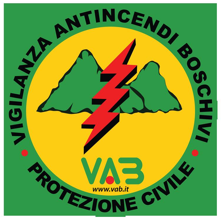 Logo con montagne verdi e fulmine rosso Protezione Civile e antincendio boschivo